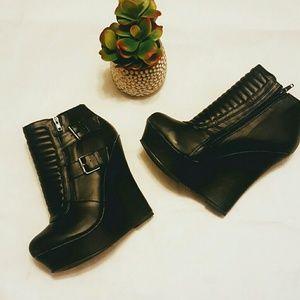 Black Wedge Booties 8.5